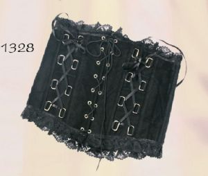 Gothic Laced Corset~Cotton Velvet Waspie with Front Lace up with Lace Trim~By Bares/Fasion X~70-1328